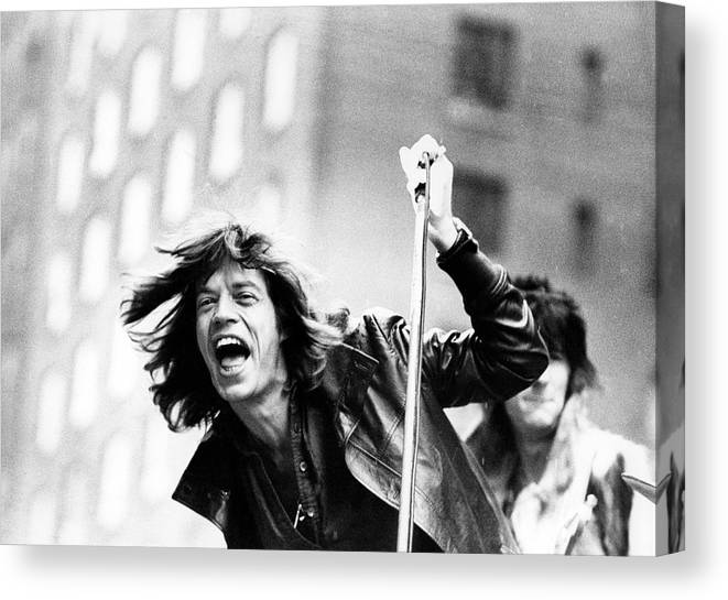 Mick Jagger Canvas Print featuring the photograph Rolling Stones On Fifth Avenue by Fred W. McDarrah
