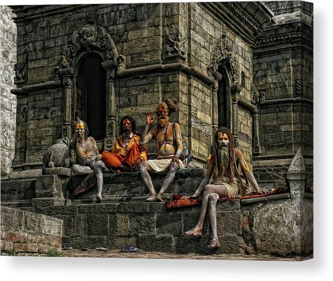 Festival Canvas Print featuring the photograph Sadhus Enjoying The Maha Shivatri Festival by Yvette Depaepe