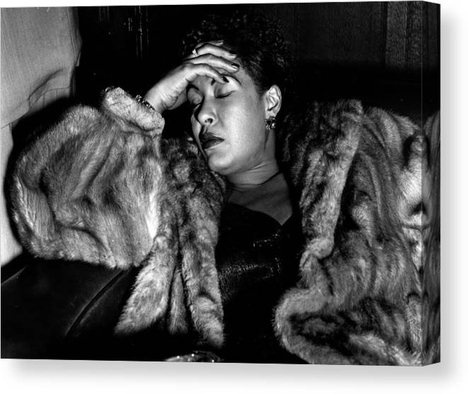 Billie Holiday Canvas Print featuring the photograph Sleeping Billie by Charles Hewitt