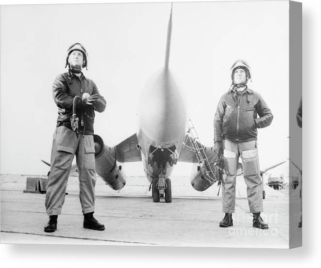 People Canvas Print featuring the photograph Soviet Air Force Captains With Airplane by Bettmann