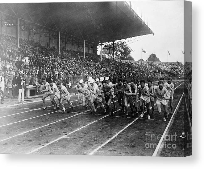 The Olympic Games Canvas Print featuring the photograph Start Of 3,000 Meter Olympic Race by Bettmann