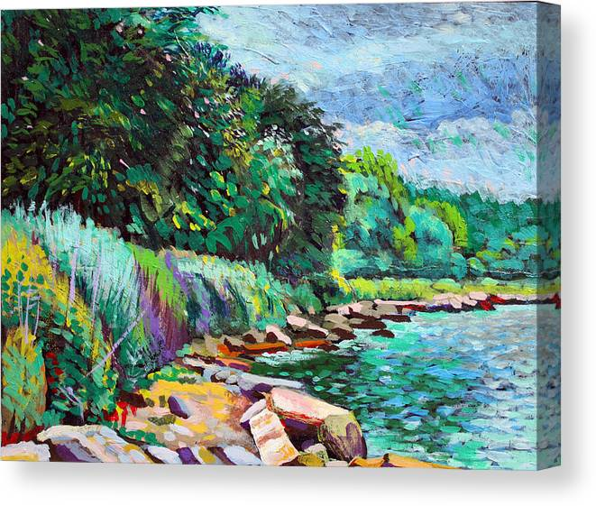 Tranquility Canvas Print featuring the digital art Summer Shore Of Hudson River, New York by Charles Harker