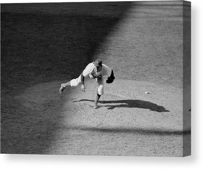Motion Canvas Print featuring the photograph The Dodgers Hal Gregg, In Action In The by New York Daily News Archive