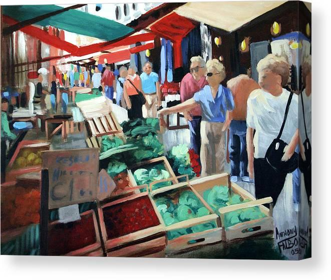 The Italian Fruit Market Canvas Print featuring the painting The Italian Fruit Market by Anthony Falbo