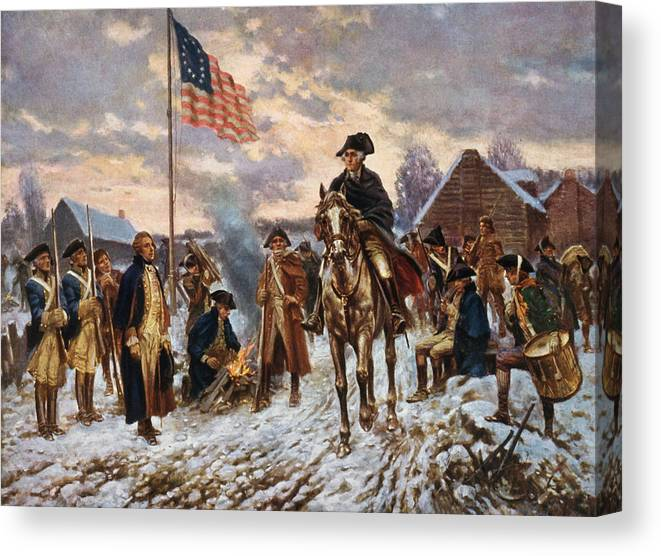 George Washington Canvas Print featuring the painting Washington at Valley Forge by War Is Hell Store