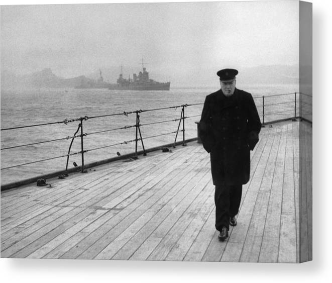 Winston Churchill Canvas Print featuring the photograph Winston Churchill At Sea by War Is Hell Store