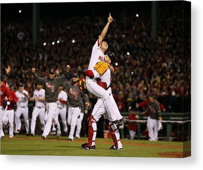 Playoffs Canvas Print featuring the photograph David Ross and Koji Uehara by Rob Carr