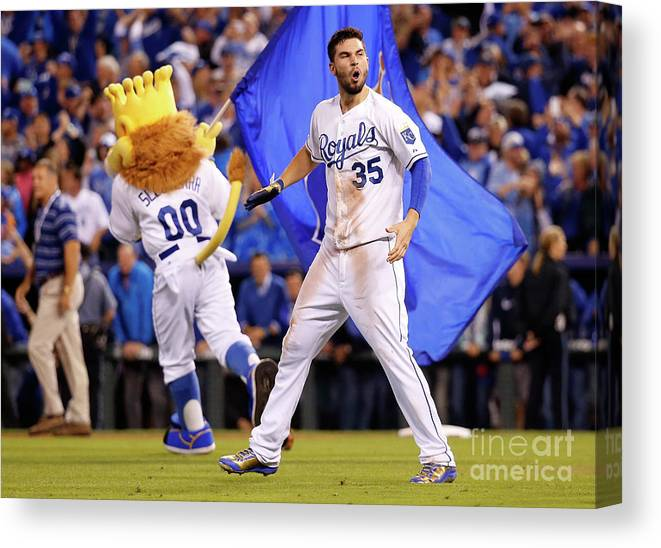 People Canvas Print featuring the photograph Eric Hosmer by Rob Carr