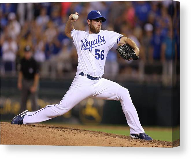 Ninth Inning Canvas Print featuring the photograph Greg Holland by Ed Zurga
