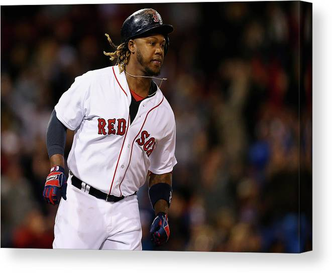 People Canvas Print featuring the photograph Hanley Ramirez by Maddie Meyer