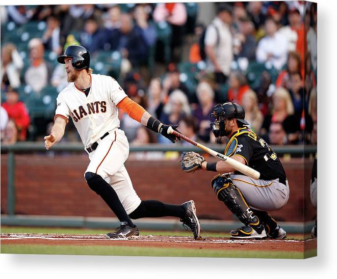 San Francisco Canvas Print featuring the photograph Hunter Pence by Ezra Shaw