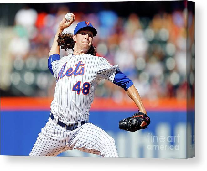 Jacob Degrom Canvas Print featuring the photograph Jacob Degrom by Jim Mcisaac