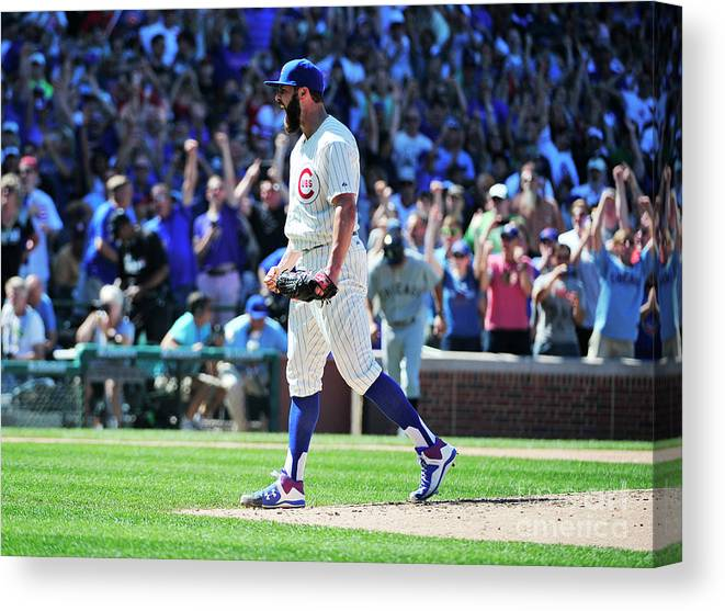People Canvas Print featuring the photograph Jake Arrieta by David Banks
