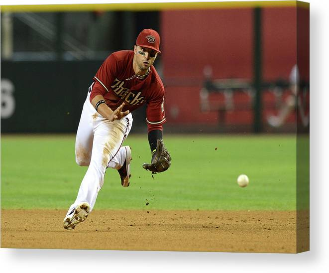 American League Baseball Canvas Print featuring the photograph Martin Prado by Norm Hall