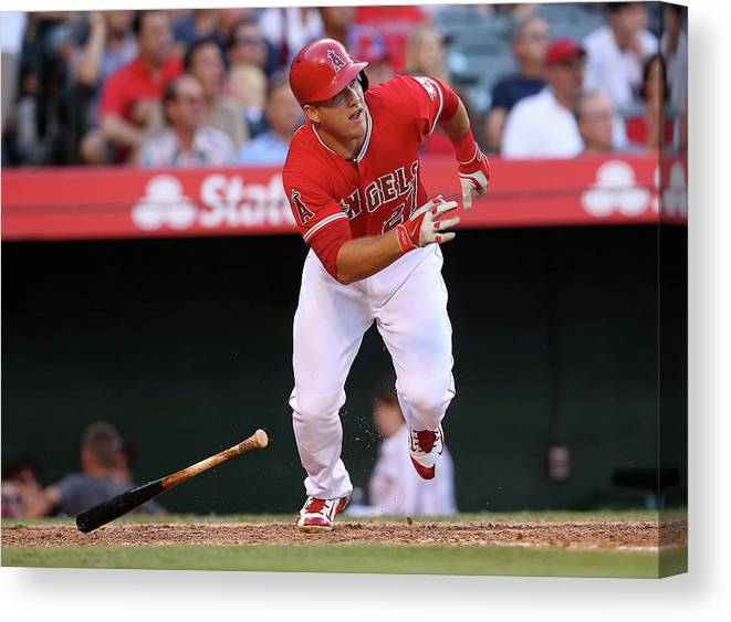 People Canvas Print featuring the photograph Mike Trout by Stephen Dunn