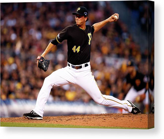 American League Baseball Canvas Print featuring the photograph Tony Watson by Justin K. Aller