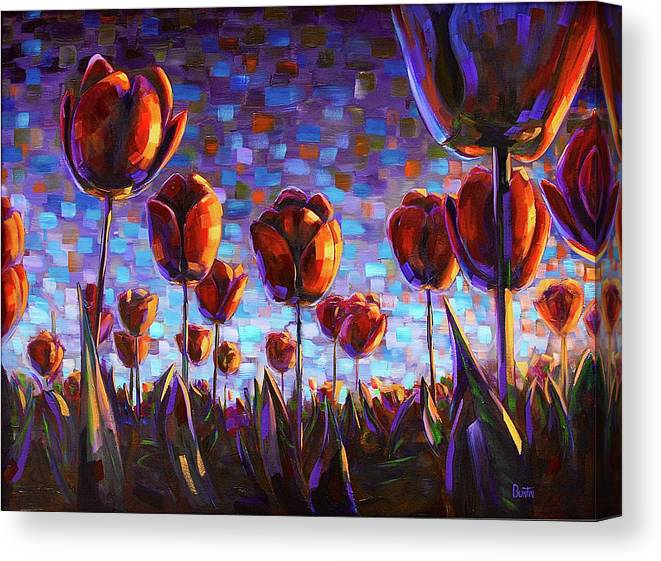 Canvas Print featuring the painting Tulips at Dawn by Rob Buntin