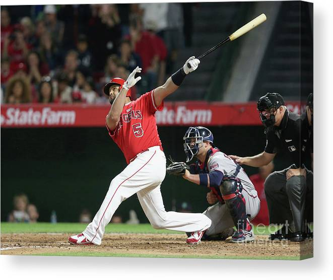 People Canvas Print featuring the photograph Albert Pujols by Stephen Dunn