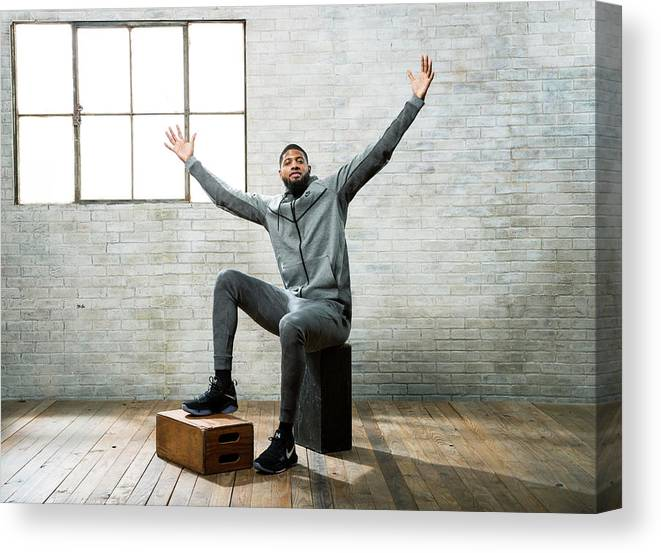Nba Pro Basketball Canvas Print featuring the photograph Paul George by Nathaniel S. Butler
