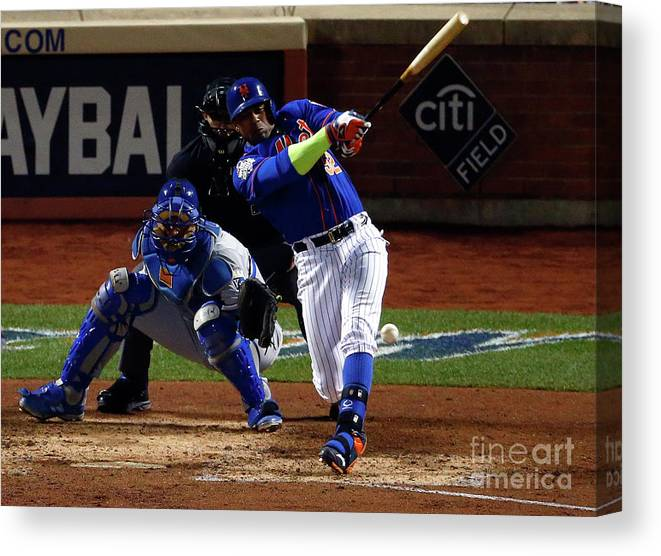 Yoenis Cespedes Canvas Print featuring the photograph Yoenis Cespedes by Mike Stobe