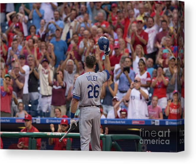 Crowd Canvas Print featuring the photograph Chase Utley by Mitchell Leff