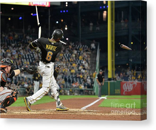 People Canvas Print featuring the photograph Starling Marte by Justin Berl