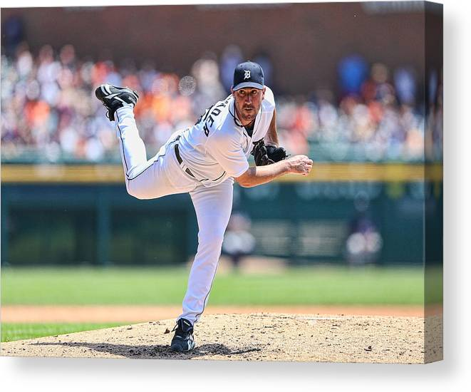 American League Baseball Canvas Print featuring the photograph Justin Verlander by Leon Halip