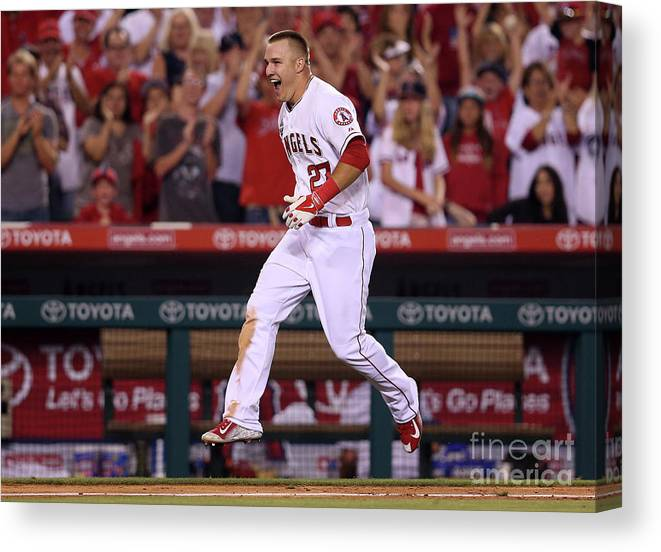 Ninth Inning Canvas Print featuring the photograph Mike Trout by Stephen Dunn
