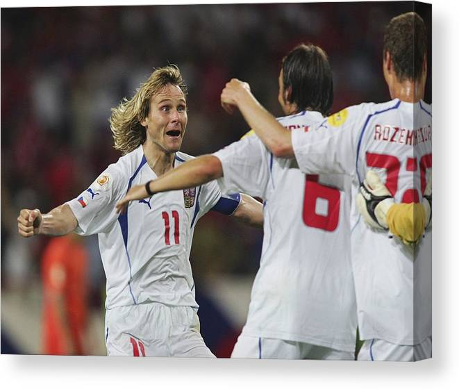 International Match Canvas Print featuring the photograph Fussball: EM 2004 in Portugal, NED-CZE by Andreas Rentz