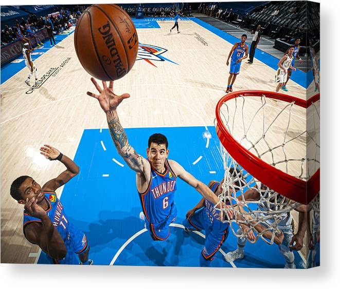 Nba Pro Basketball Canvas Print featuring the photograph Indiana Pacers v Oklahoma City Thunder by Zach Beeker