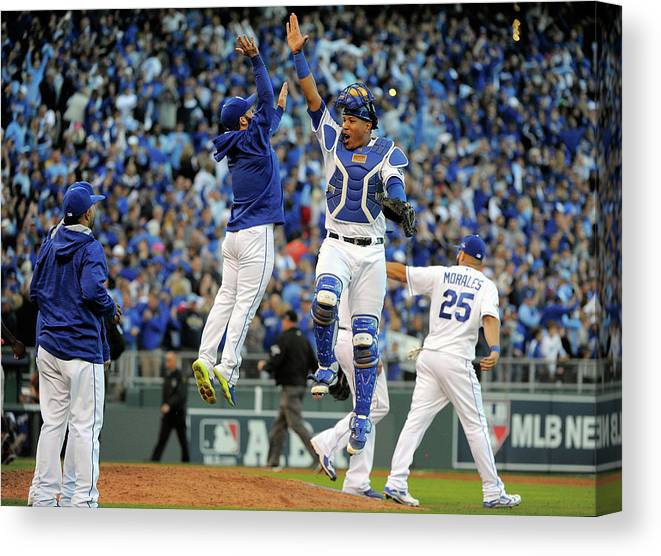 Game Two Canvas Print featuring the photograph Salvador Perez by Ed Zurga