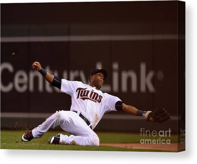 People Canvas Print featuring the photograph Albert Pujols and Torii Hunter by Hannah Foslien