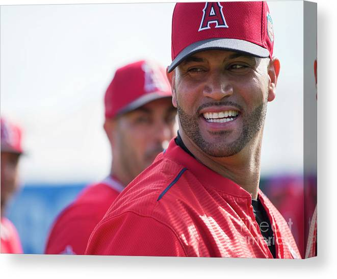 Tempe Diablo Stadium Canvas Print featuring the photograph Albert Pujols by Matt Brown