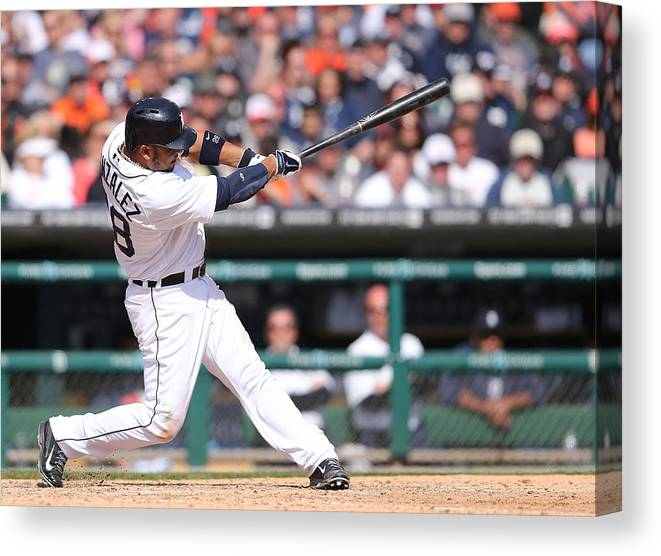 American League Baseball Canvas Print featuring the photograph Alex Avila by Leon Halip