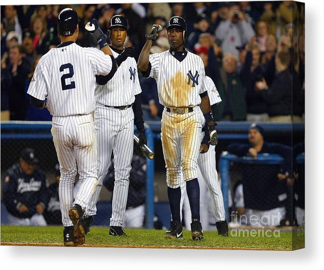 Alfonso Soriano Canvas Print featuring the photograph Alfonso Soriano, Derek Jeter, and Bernie Williams by Al Bello