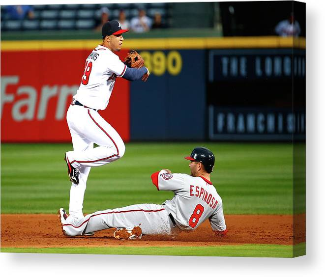 Atlanta Canvas Print featuring the photograph Andrelton Simmons and Danny Espinosa by Kevin C. Cox