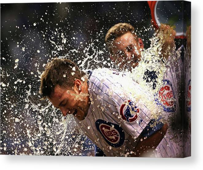 People Canvas Print featuring the photograph Anthony Rizzo and Kris Bryant by Jonathan Daniel