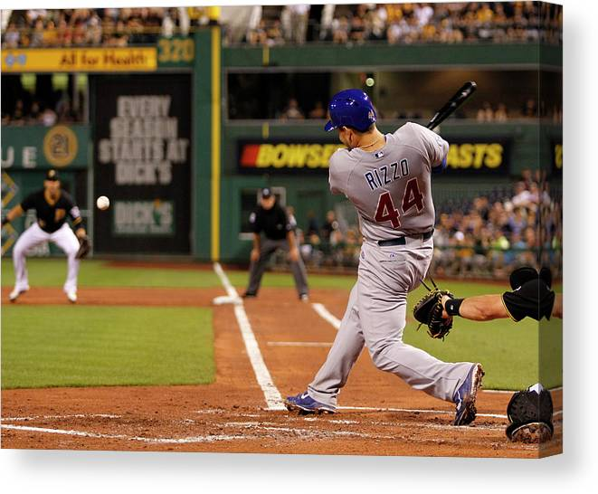 People Canvas Print featuring the photograph Anthony Rizzo by Justin K. Aller