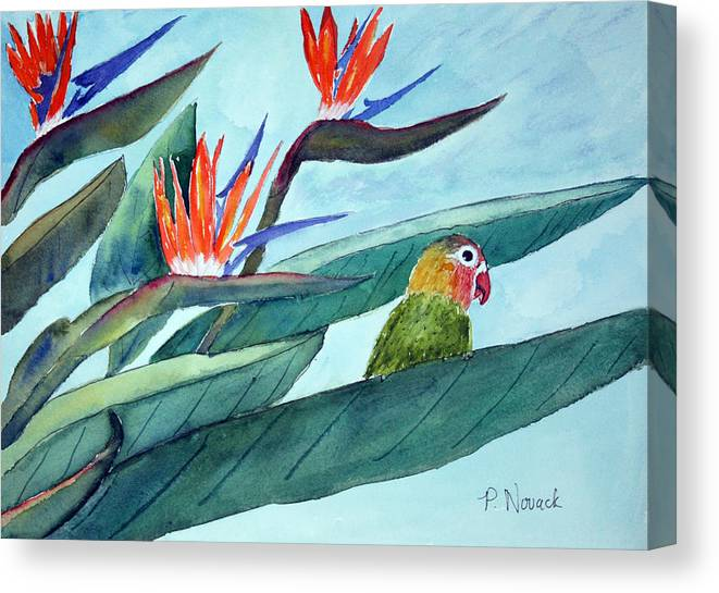 Bird Canvas Print featuring the painting Bird In Paradise by Patricia Novack
