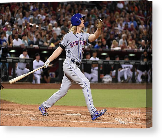 People Canvas Print featuring the photograph Braden Shipley and Noah Syndergaard by Norm Hall