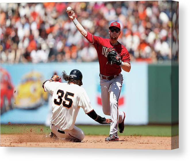 San Francisco Canvas Print featuring the photograph Brandon Crawford and Chris Owings by Lachlan Cunningham