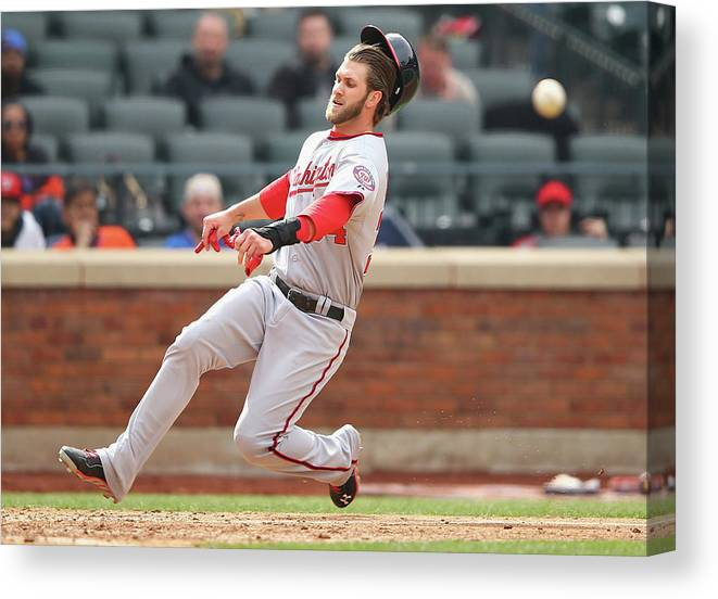 American League Baseball Canvas Print featuring the photograph Bryce Harper by Al Bello