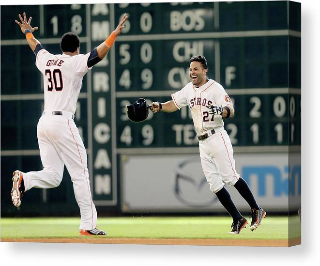 Ninth Inning Canvas Print featuring the photograph Carlos Gomez by Bob Levey