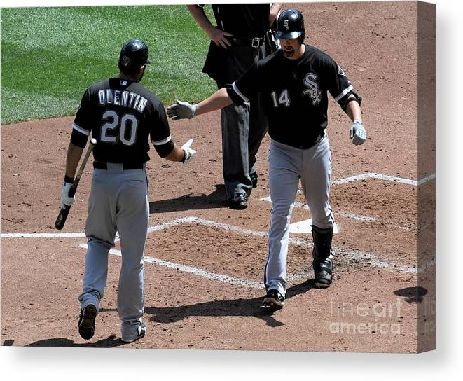 People Canvas Print featuring the photograph Carlos Quentin and Paul Konerko by Hannah Foslien