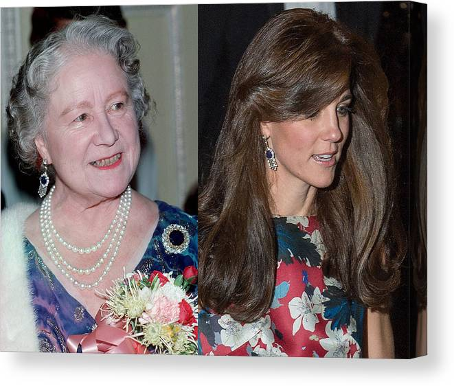 Following Canvas Print featuring the photograph Catherine, Duchess of Cambridge Wears Queen Mother Earrings by Anwar Hussein