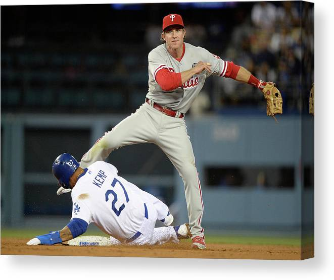 Second Inning Canvas Print featuring the photograph Chase Utley and Matt Kemp by Harry How