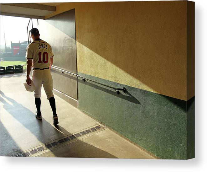 Media Day Canvas Print featuring the photograph Chipper Jones by Mike Ehrmann