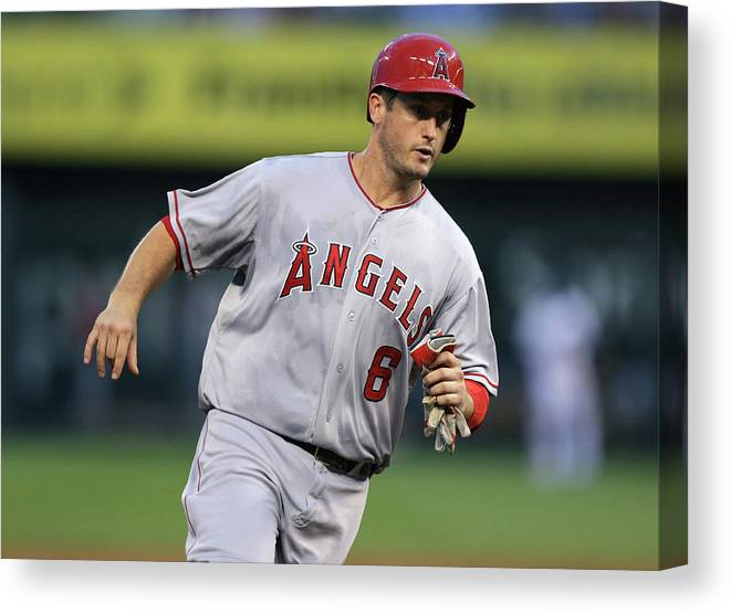 American League Baseball Canvas Print featuring the photograph Chris Iannetta and David Freese by Ed Zurga