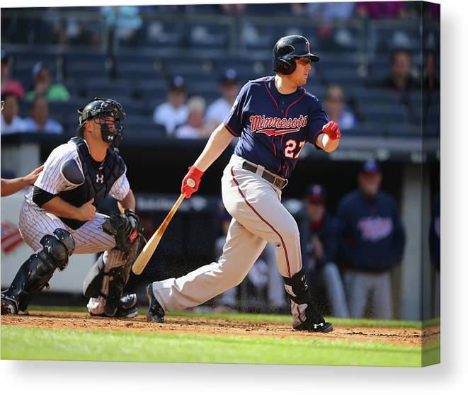 American League Baseball Canvas Print featuring the photograph Chris Parmelee by Al Bello