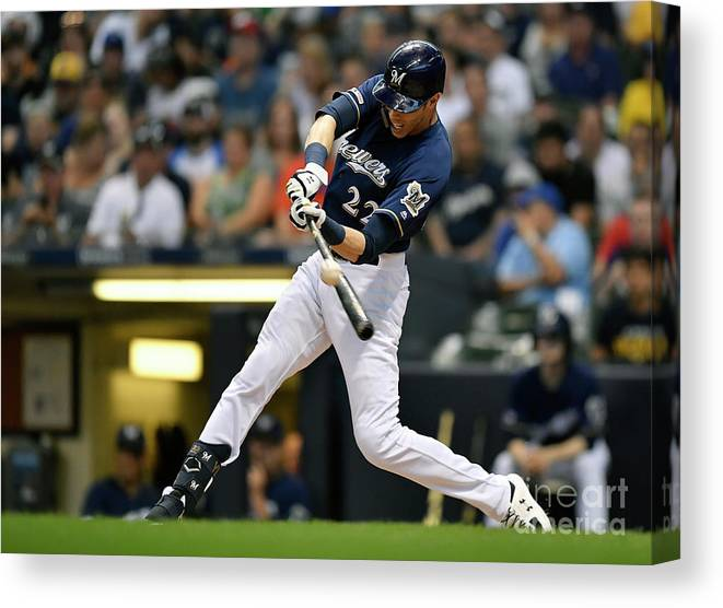 People Canvas Print featuring the photograph Christian Yelich by Quinn Harris